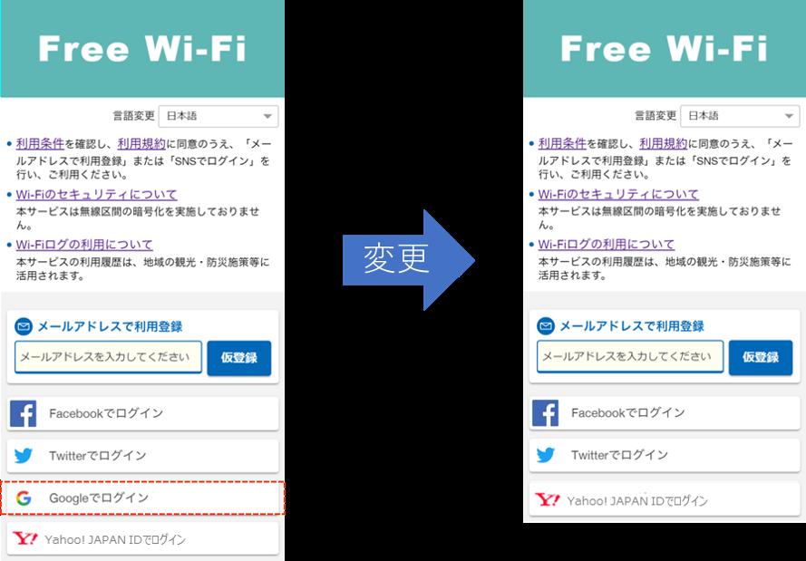 日本語の無料公衆無線LANサービスの利用登録画面の変更イメージ